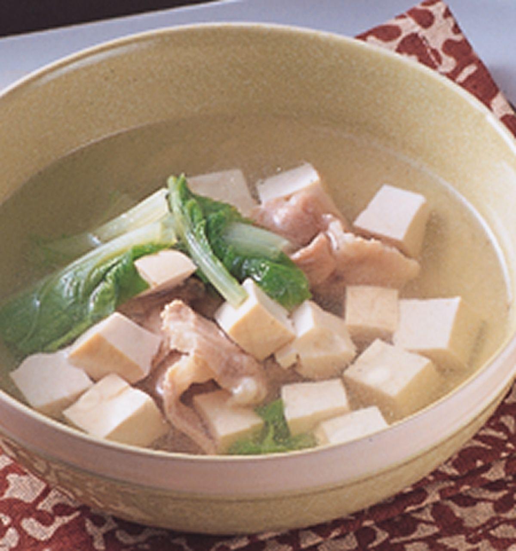 食譜:青菜豆腐肉片湯