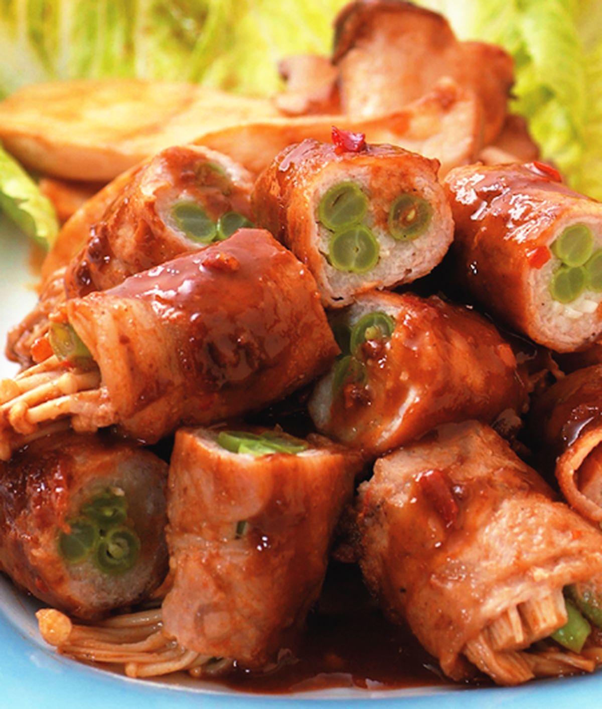 食譜:里肌薄片捲金針菇
