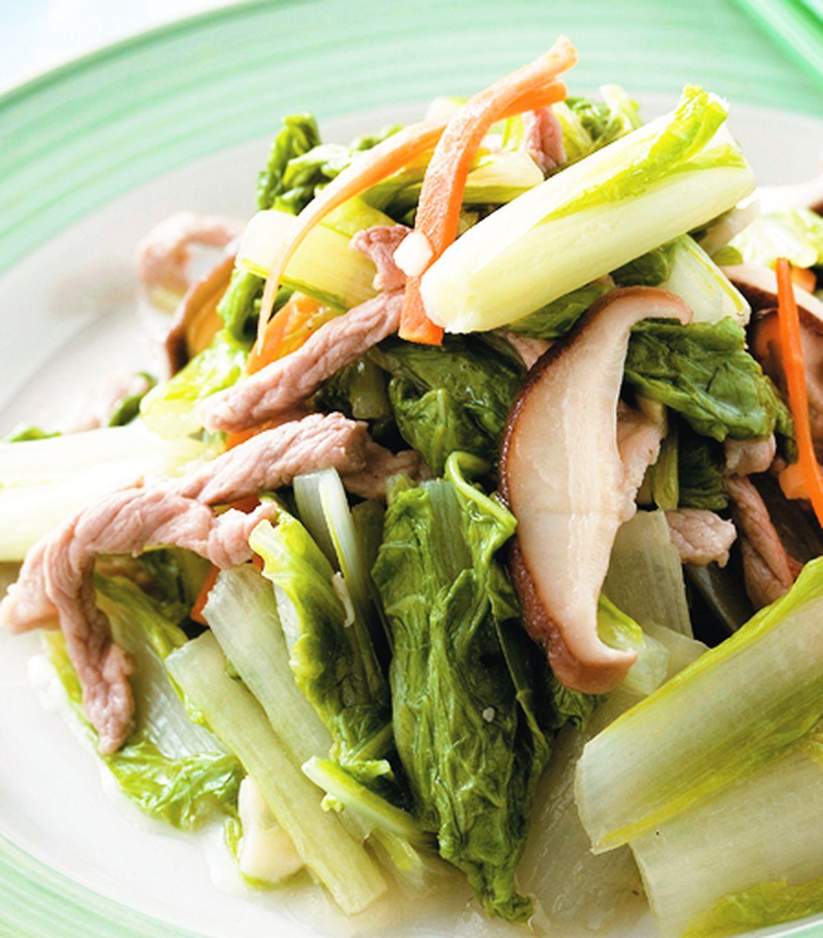 食譜:肉絲炒小白菜(1)