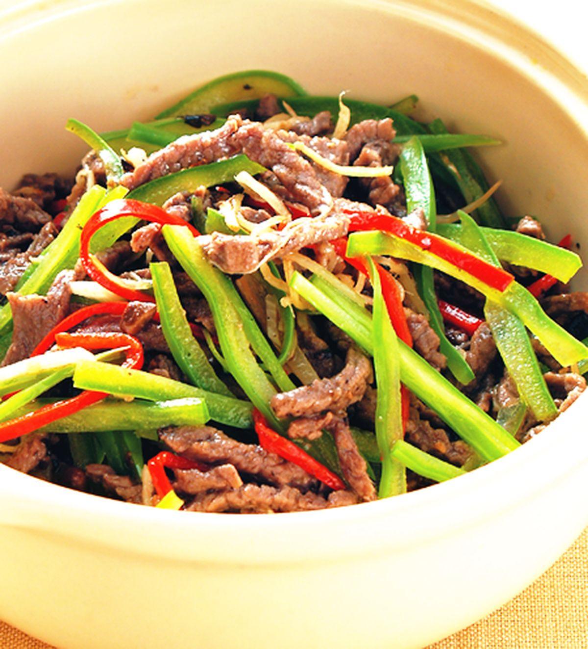食譜:豉汁青椒牛肉絲煲