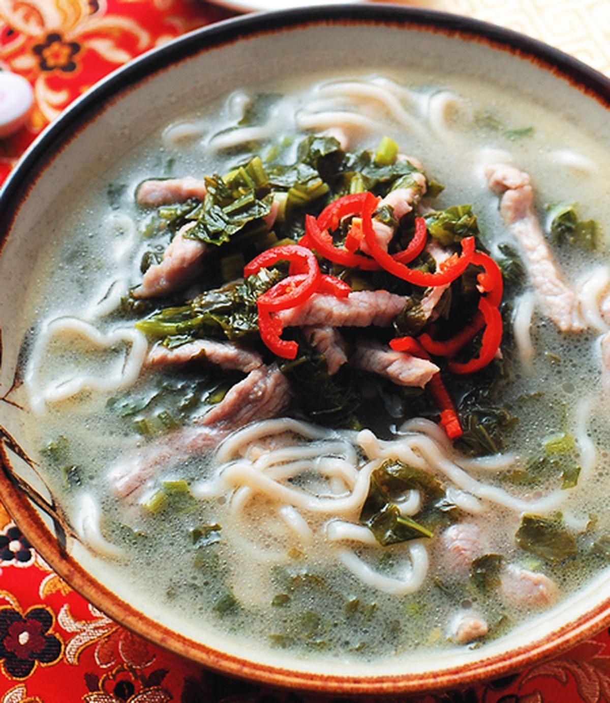 食譜:雪菜肉絲煨麵