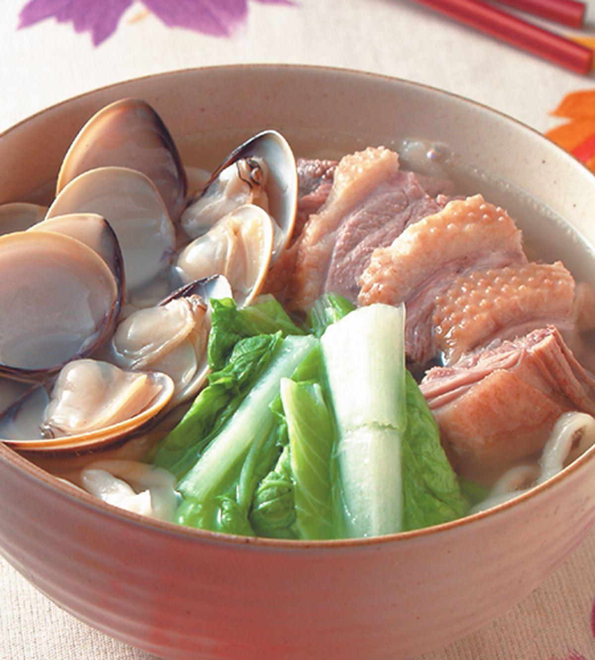 食譜:鵝肉蚌麵