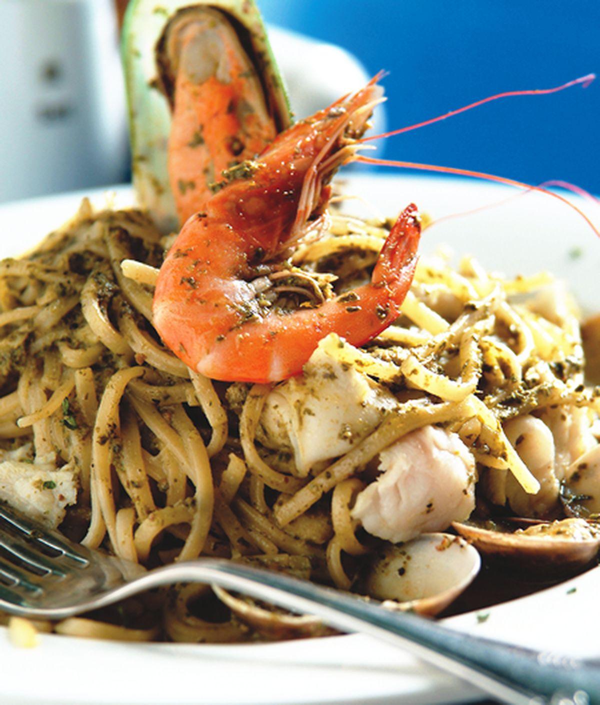 食譜:青醬海鮮麵