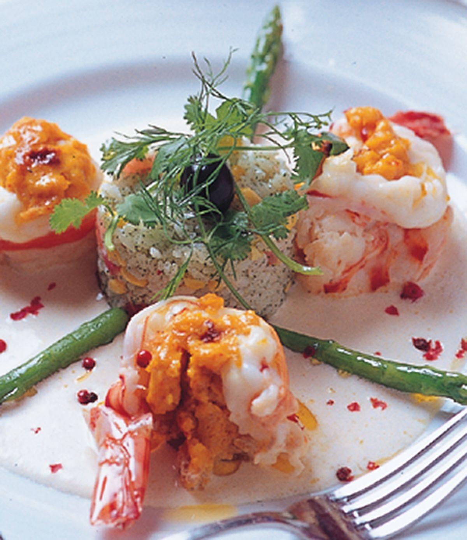 食譜:奶油乳酪汁煎大明蝦裹蝦醬