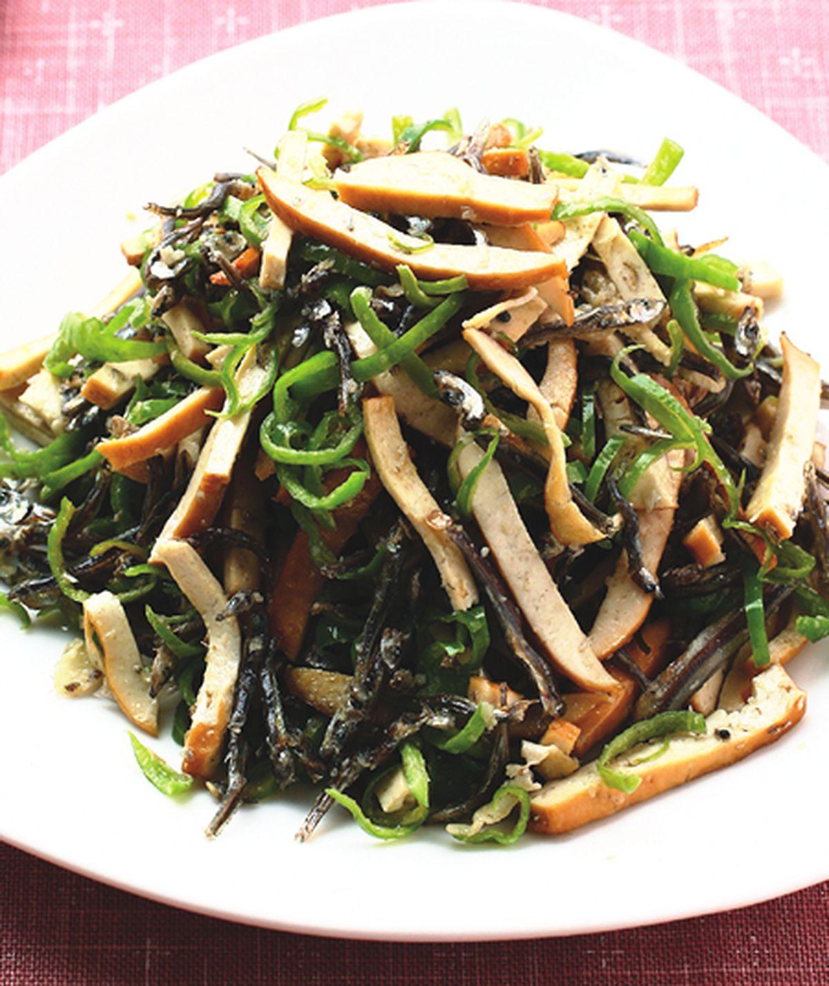 食譜:青椒干絲小魚