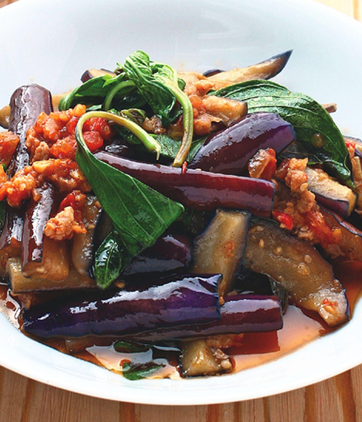 食譜:蕃茄肉醬炒紫茄