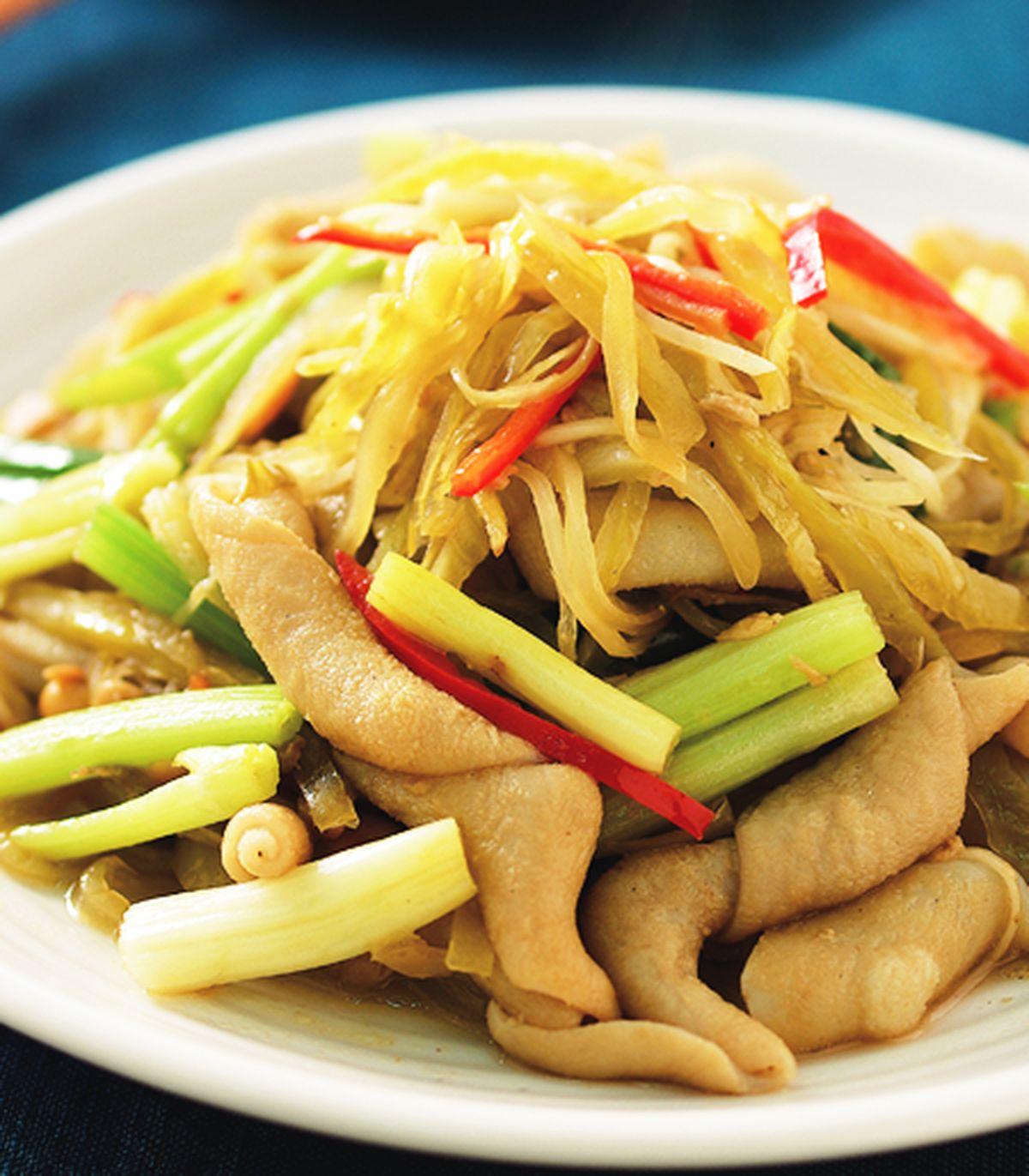 食譜:酸菜炒鴨腸