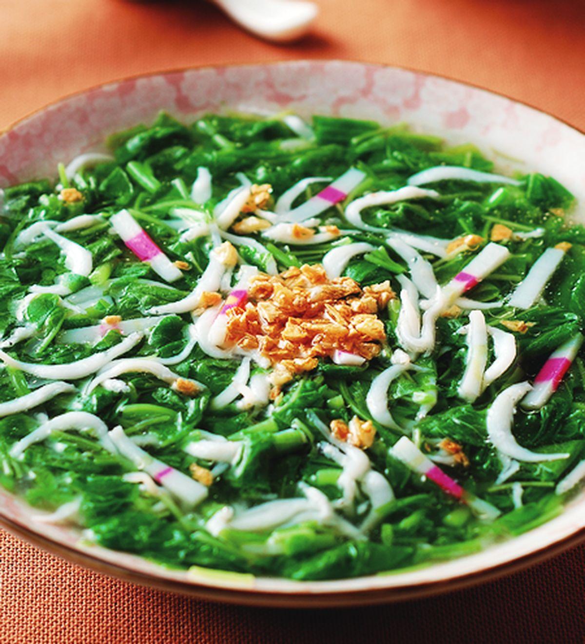 食譜:莧菜吻仔魚羹(2)