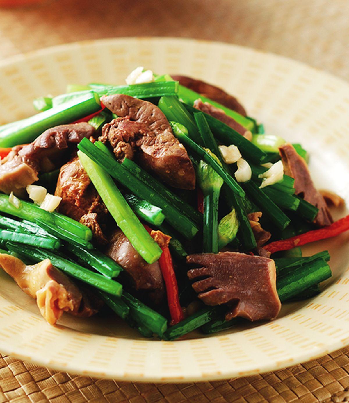 食譜:韭菜花炒下水(1)