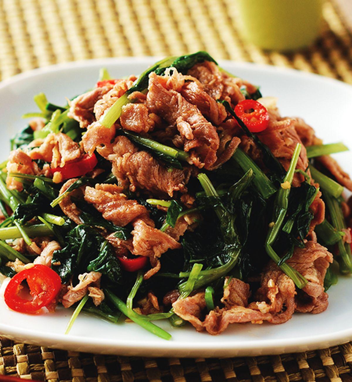 食譜:沙茶羊肉炒空心菜(2)