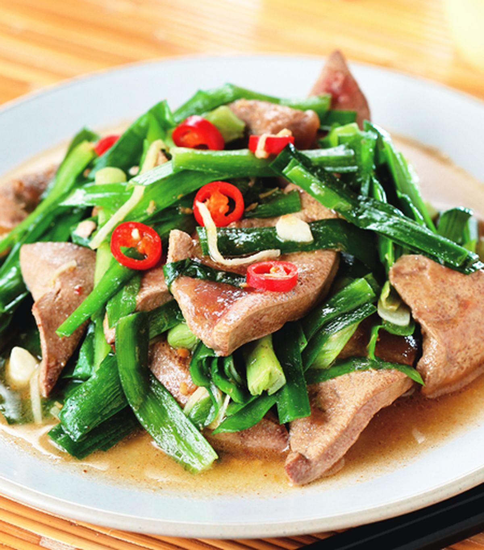 食譜:豬肝炒韭菜