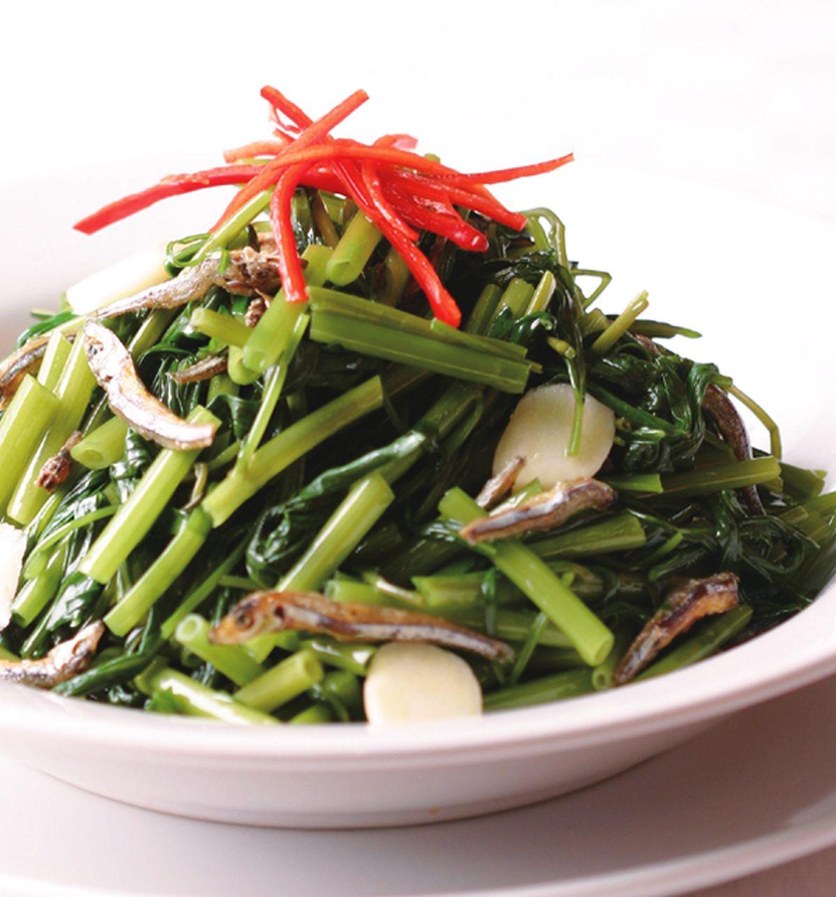 食譜:小魚炒空心菜