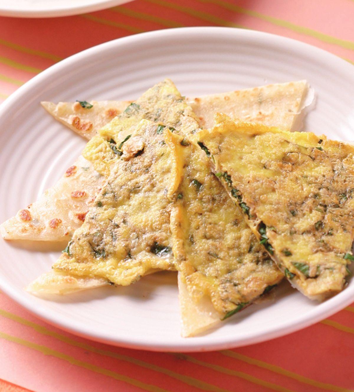 食譜:九層塔蛋蔥抓餅