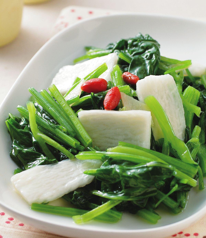 食譜:山藥枸杞菠菜