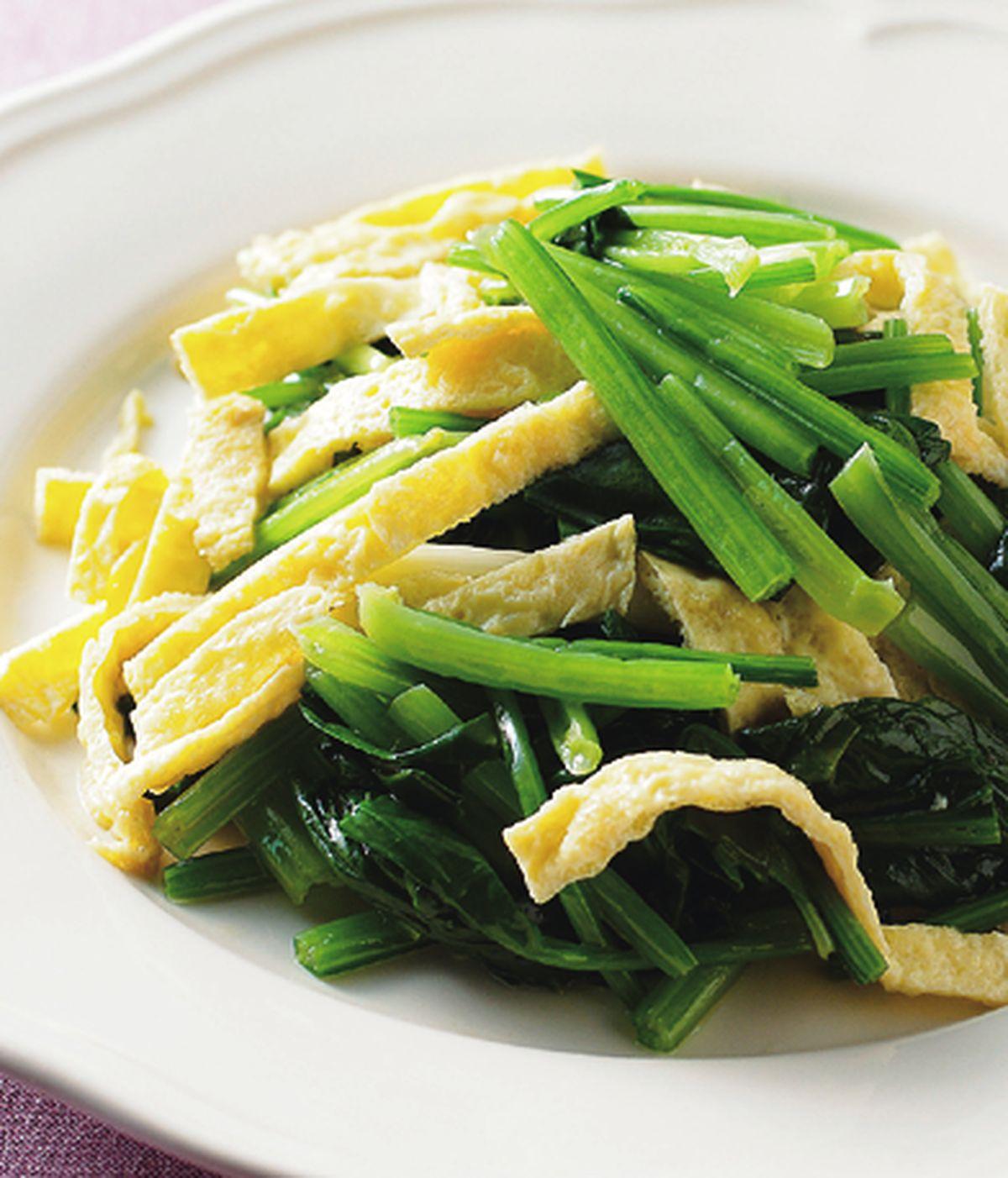 食譜:菠菜炒蛋皮
