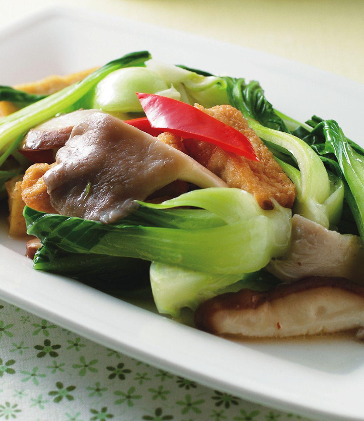 食譜:青江菜雙菇炒豆腐