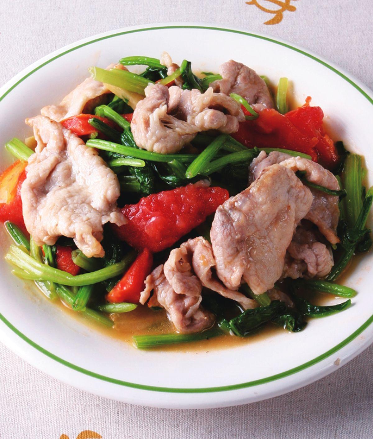 食譜:蕃茄菠菜炒肉片