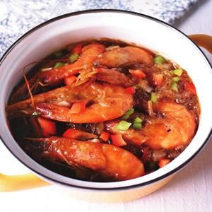 沙茶鮮蝦粉絲煲