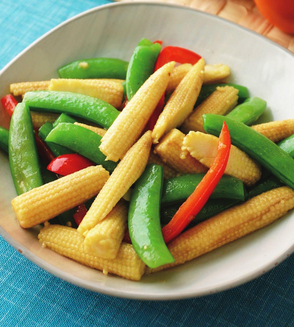 食譜:玉米筍炒甜豆
