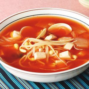 黃豆芽蛤利辣湯