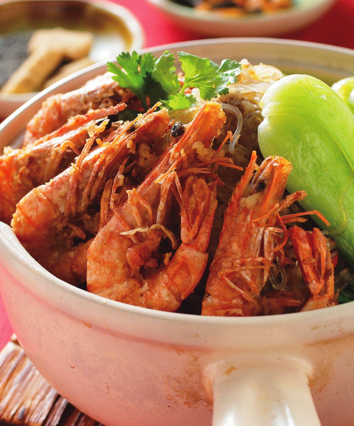 食譜:鮮蝦粉絲煲(1)
