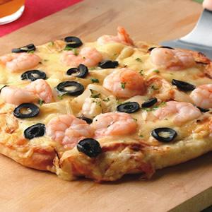奶油鮮蝦薄片披薩披薩