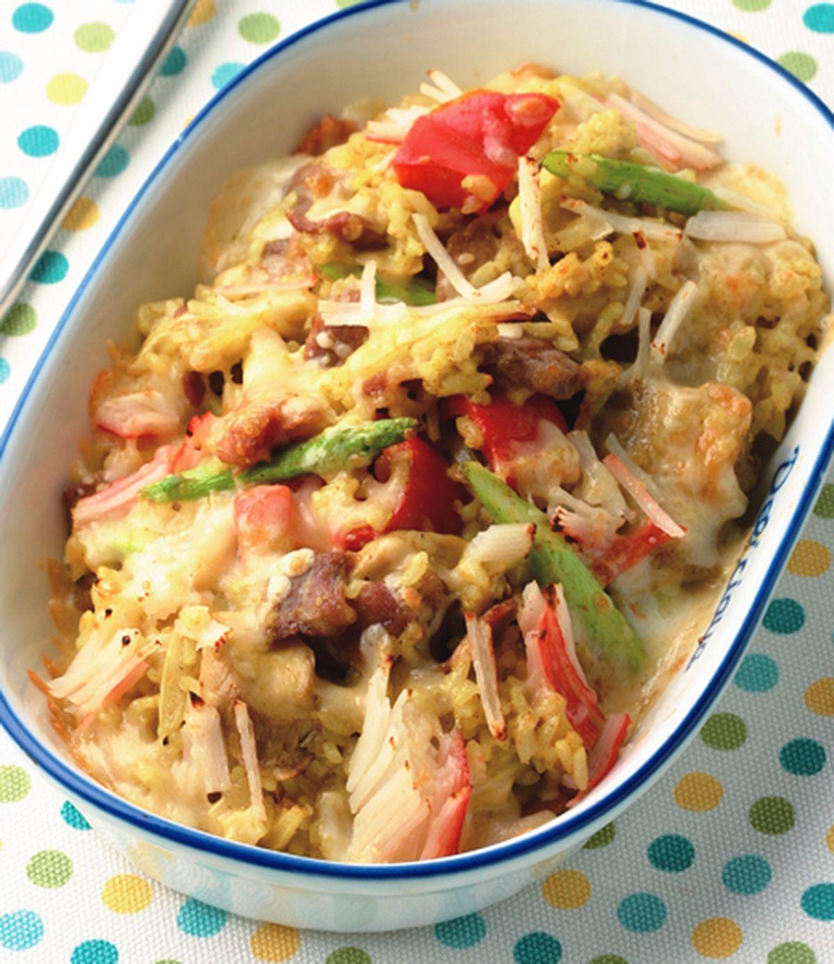 食譜:咖哩培根蟹肉焗飯