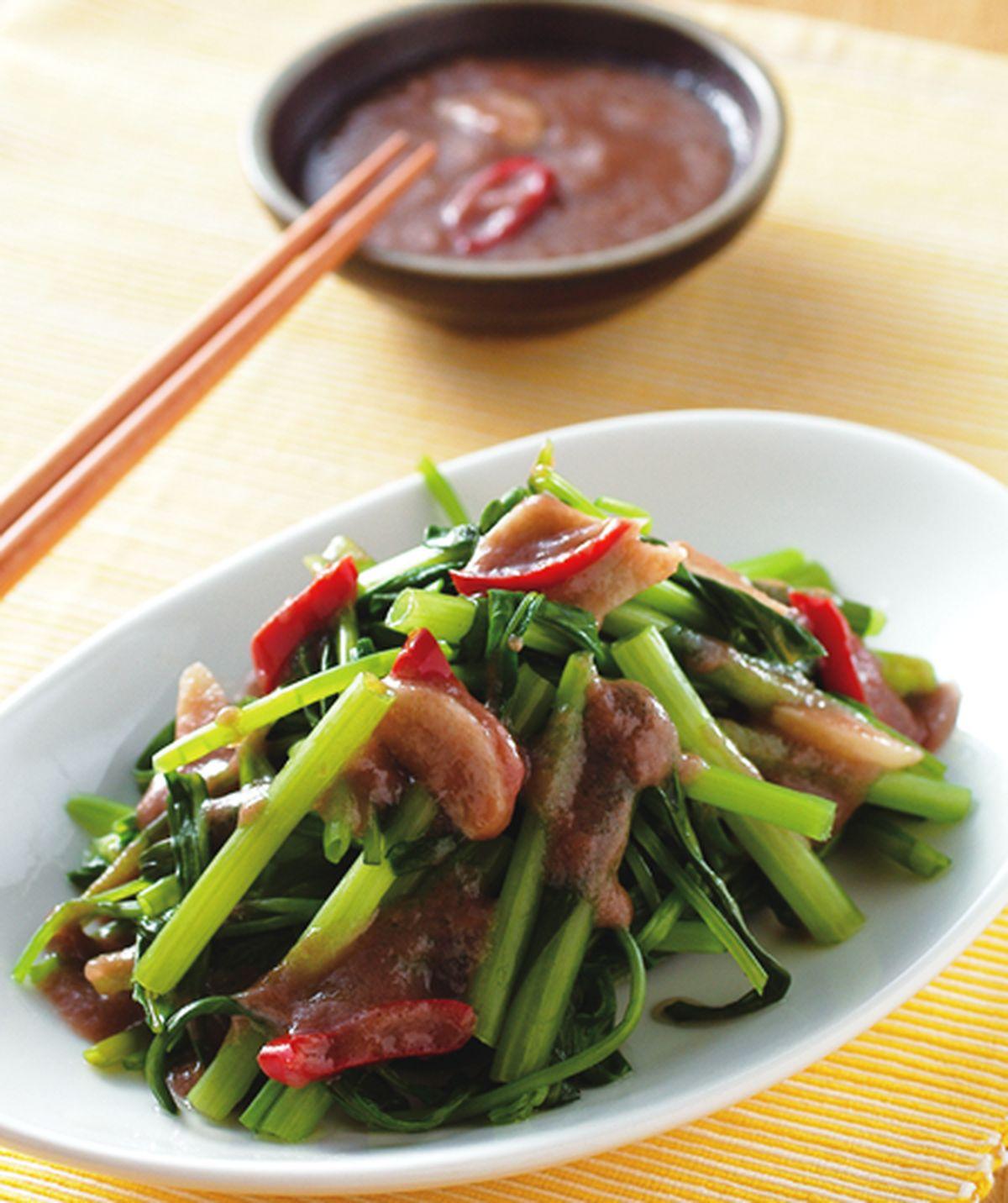 食譜:蝦醬空心菜(3)