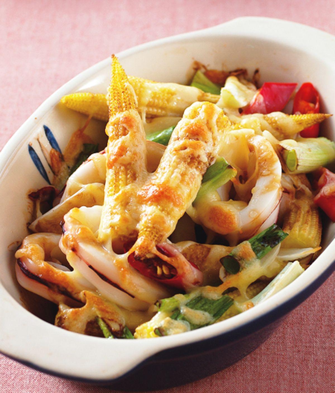 食譜:玉米筍焗透抽