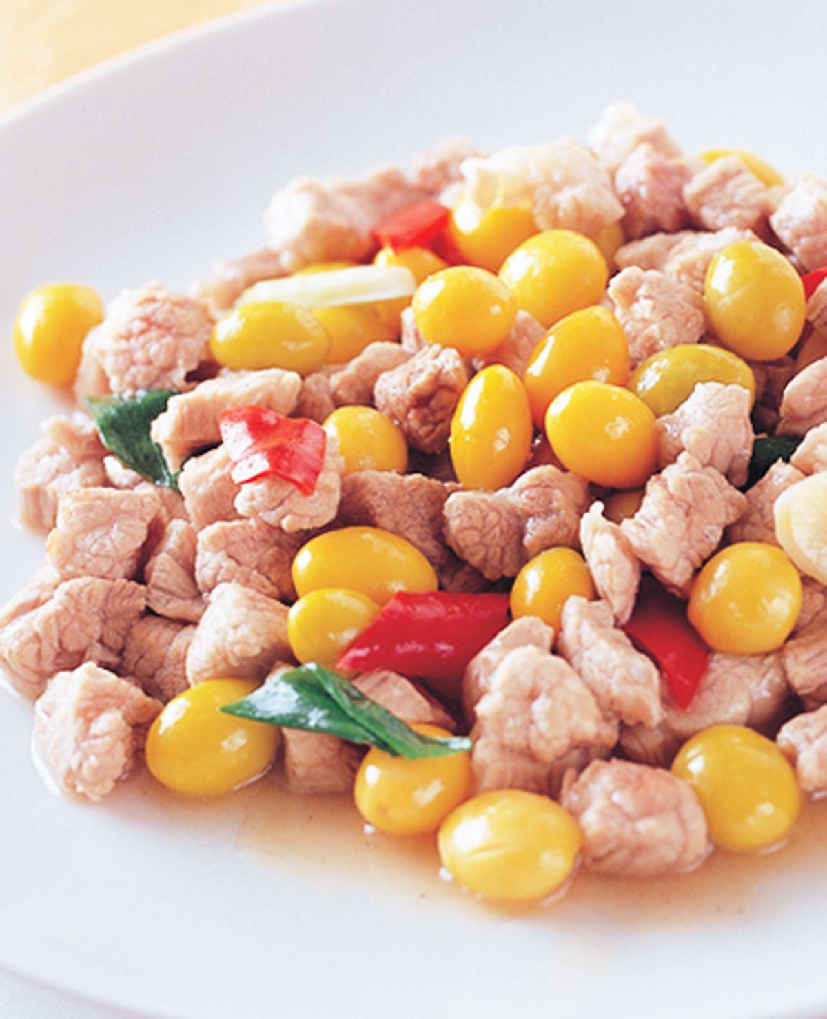 食譜:白果炒肉丁