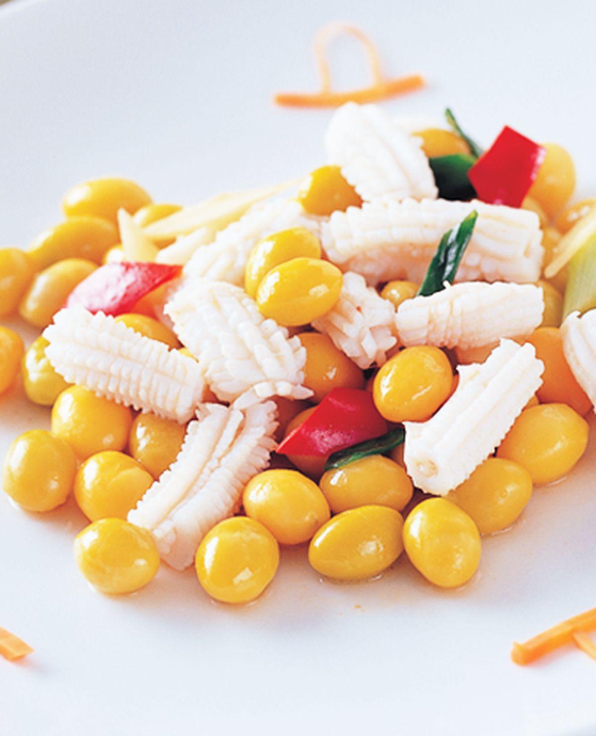 食譜:白果炒花枝捲