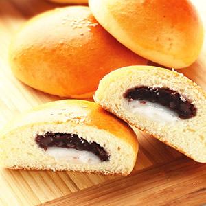 雙餡紅豆麻糬麵包
