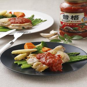 香煎雞腿排佐蕃茄醬汁