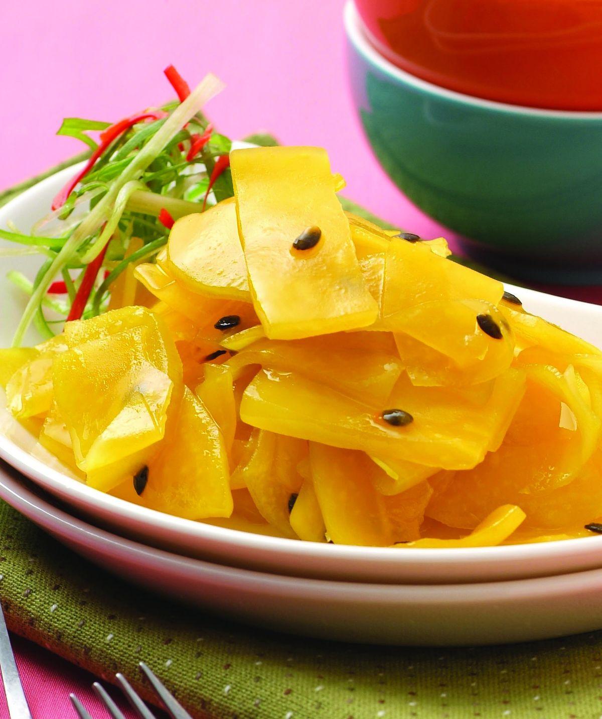 食譜:青木瓜拌百香果醬