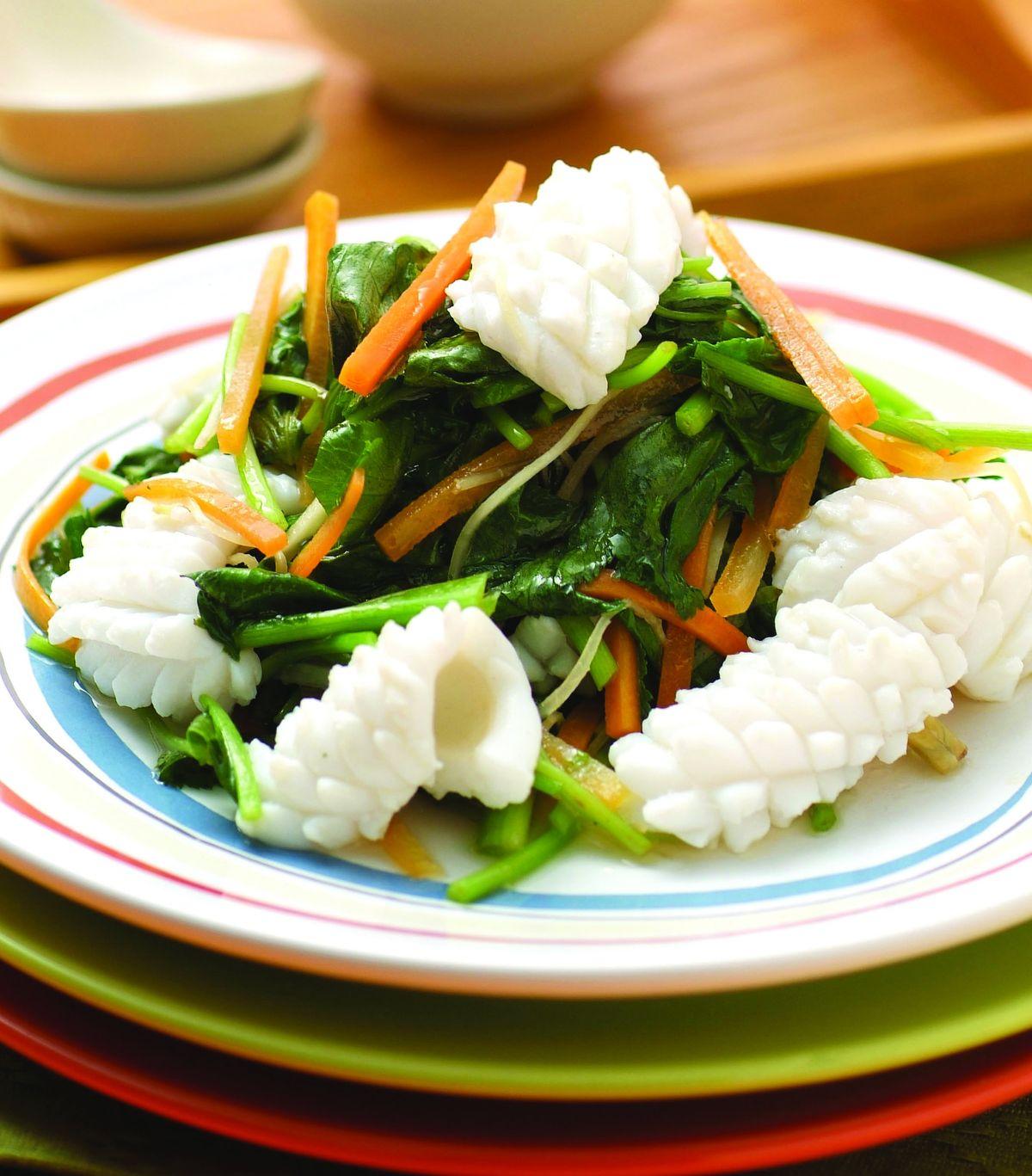 食譜:山芹菜炒中卷