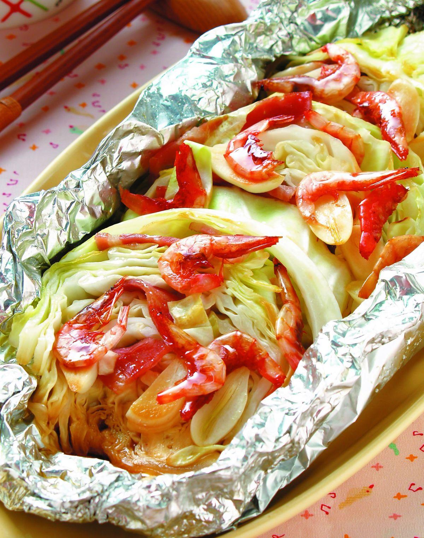 食譜:鋁燒-櫻花蝦高麗菜燒