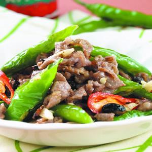 羊肉炒青辣椒