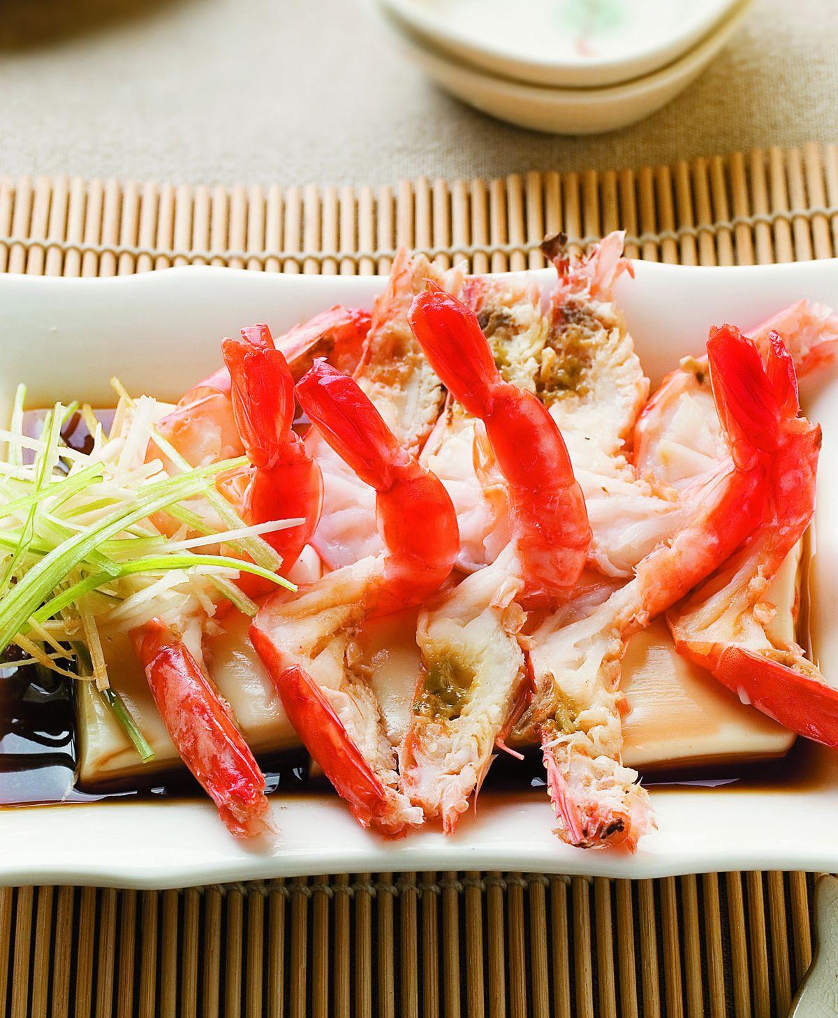 食譜:豆腐蒸蝦