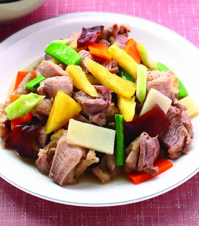 食譜:鳳梨炒雞腿肉