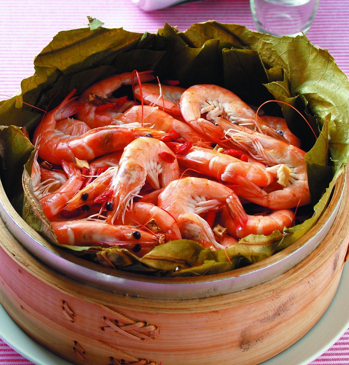 食譜:荷葉蒸蝦