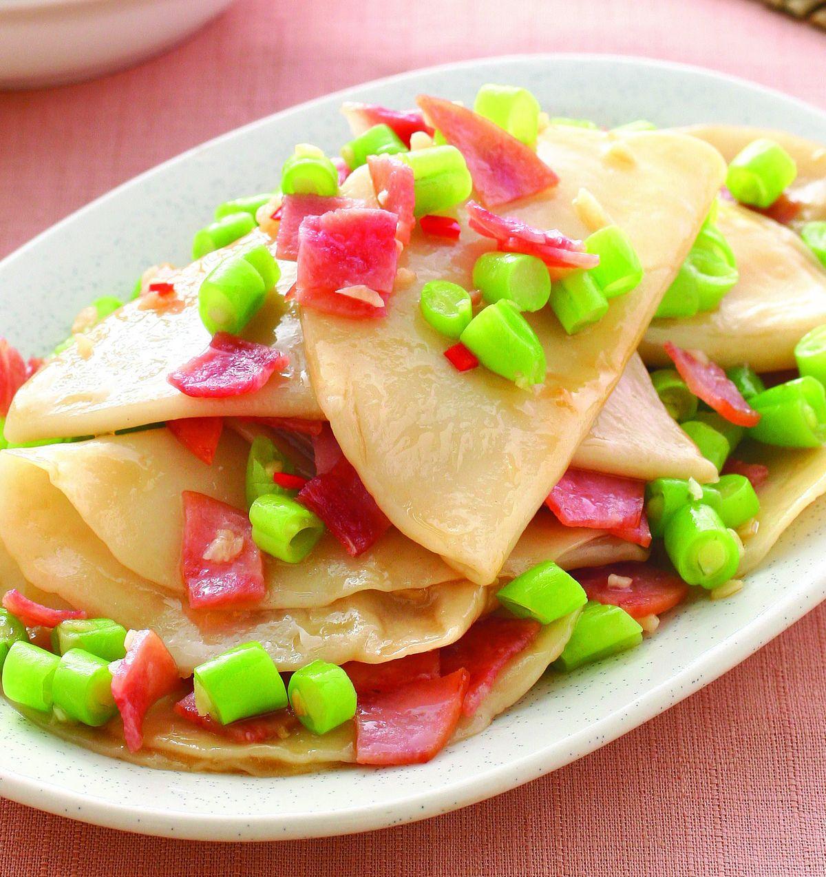 食譜:火腿片炒水餃皮