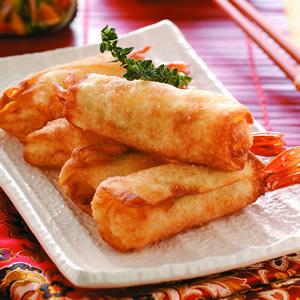 鮮蝦蘆筍捲佐芝麻醬