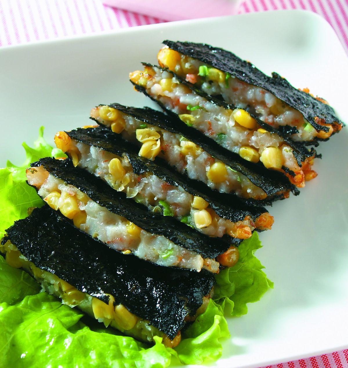 食譜:海苔玉米蝦餅