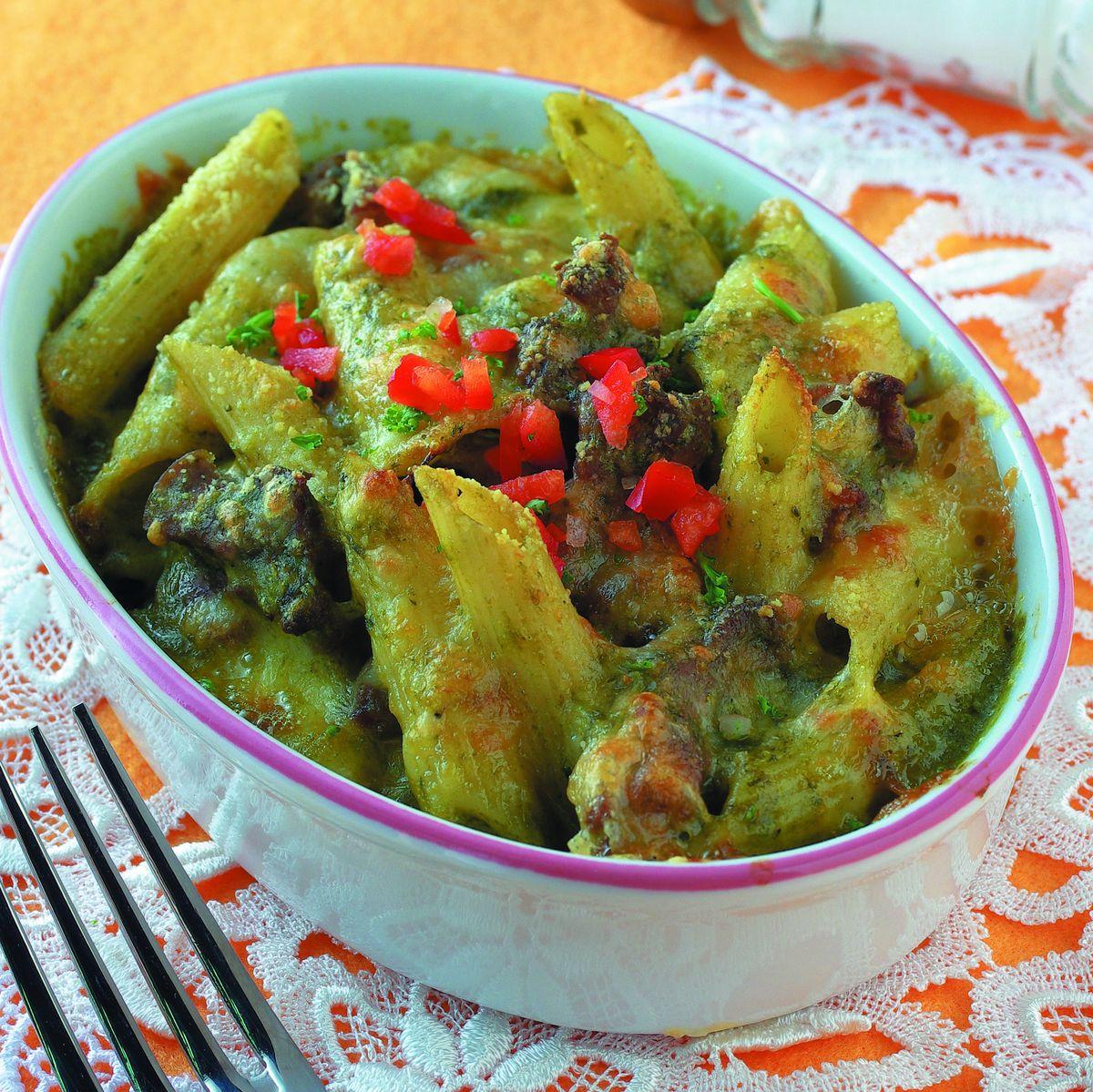 食譜:青醬雞肉焗筆尖麵(1)