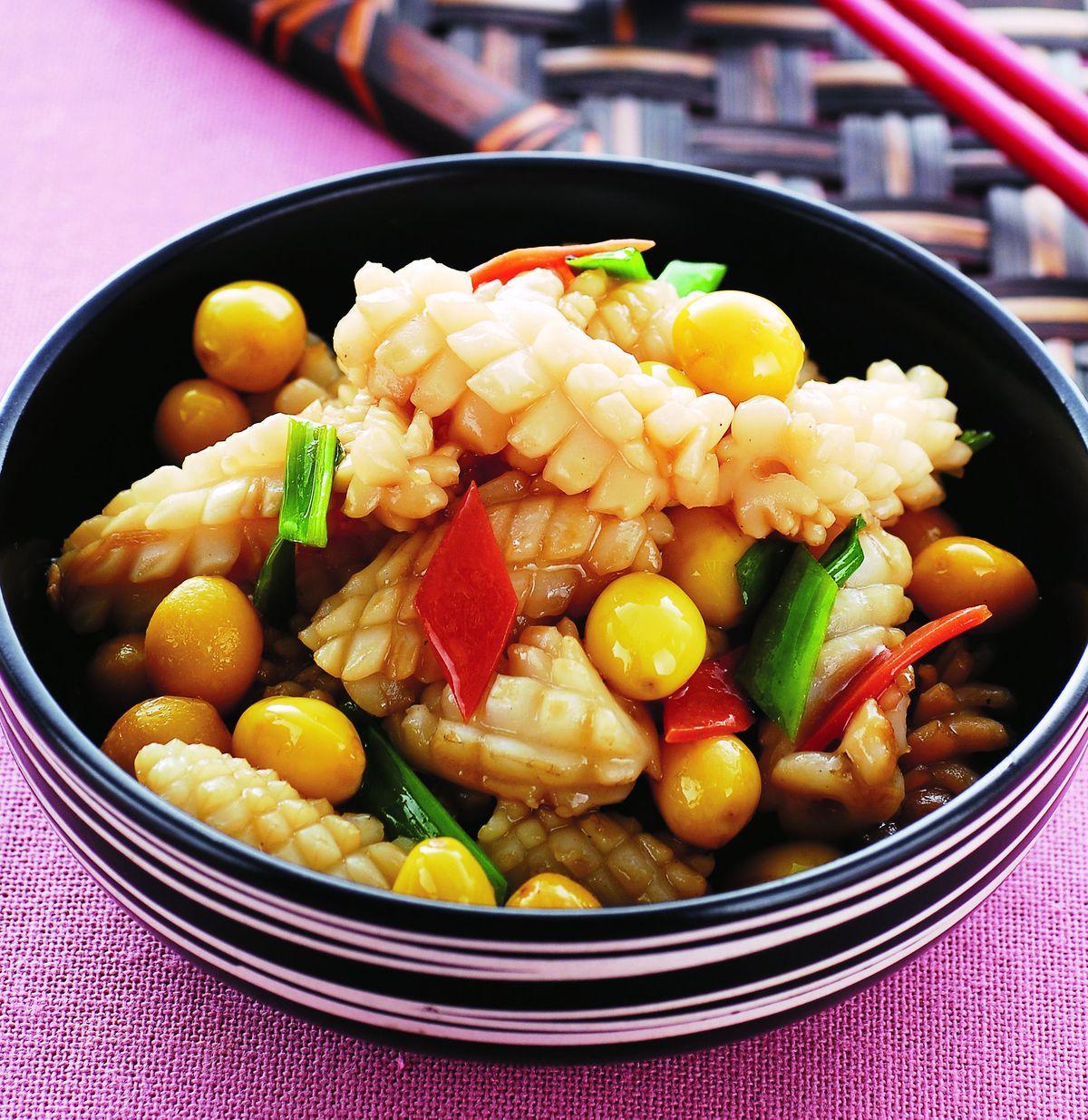 食譜:白果炒花枝(1)