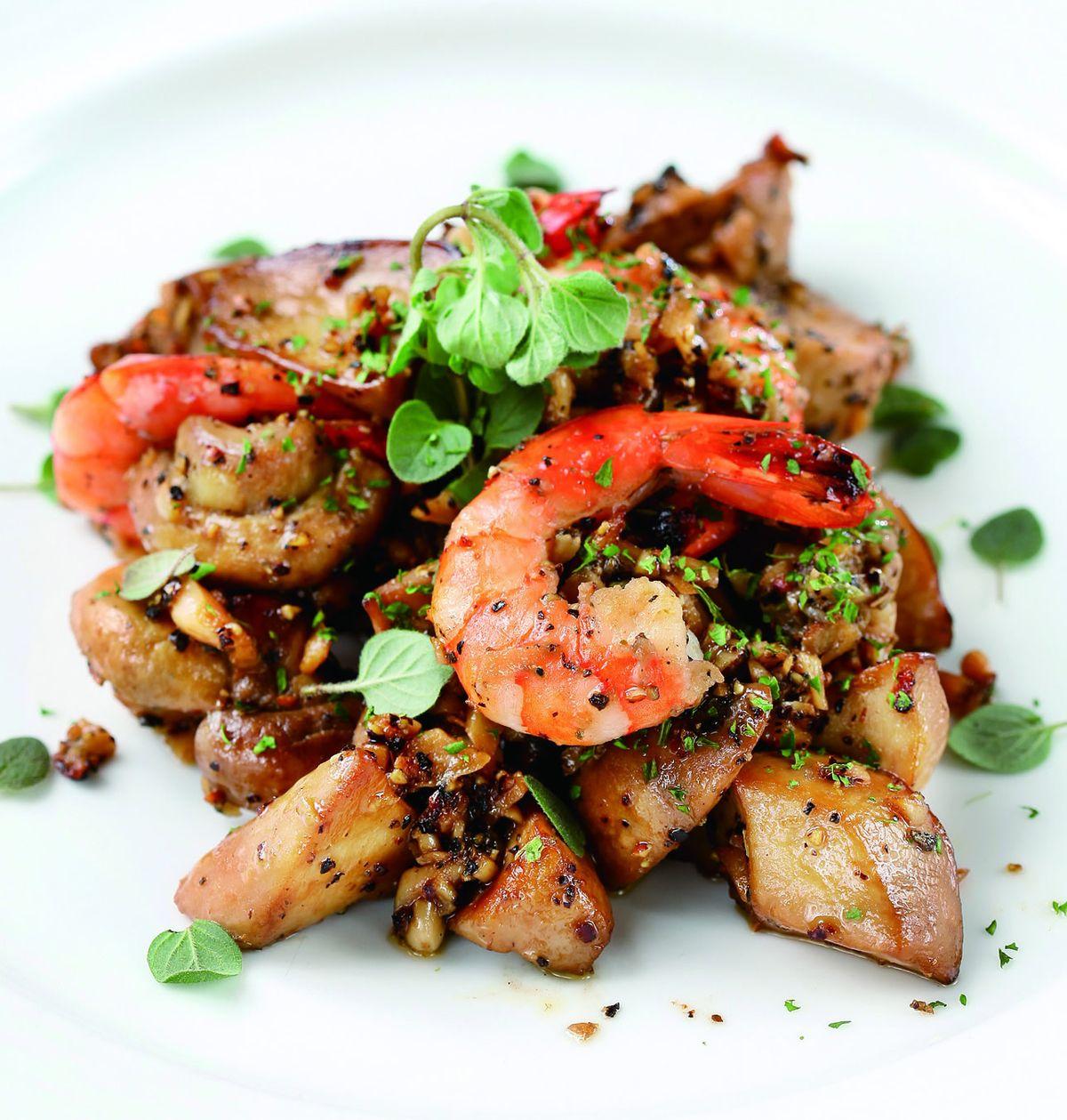 食譜:黑胡椒俄力岡蘑菇鮮蝦