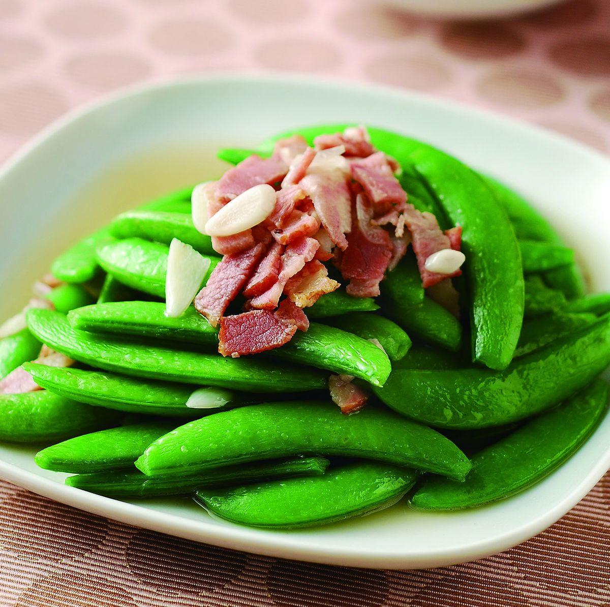 食譜:甜豆炒培根
