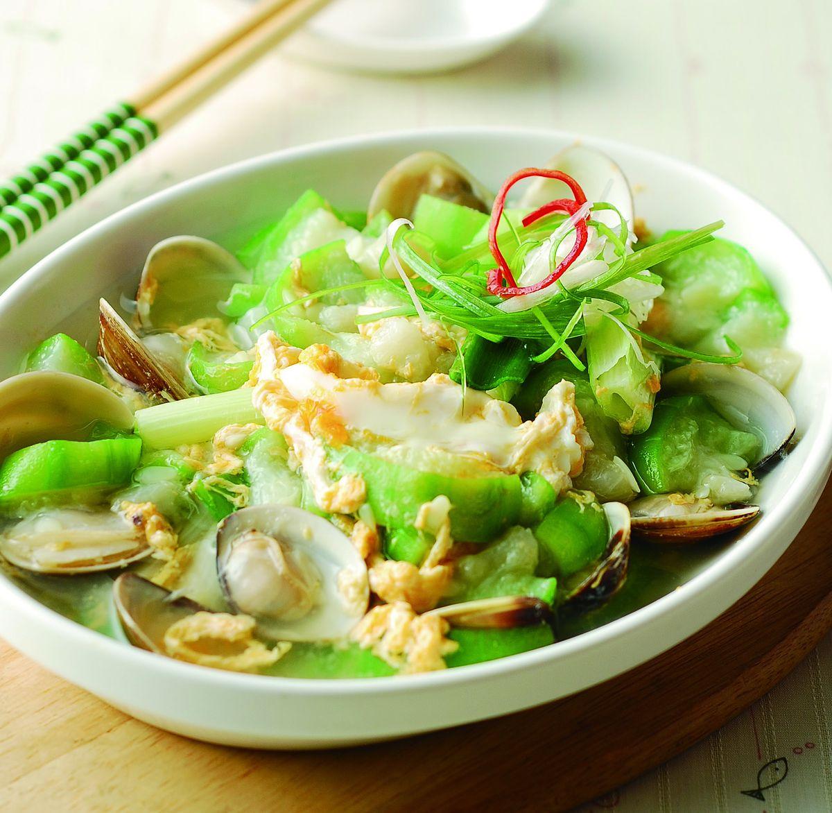 食譜:蛤蜊肉蛋炒絲瓜