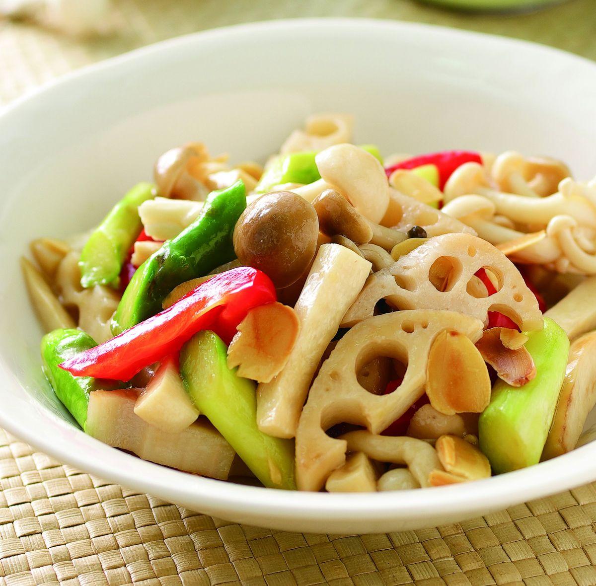 食譜:杏仁炒什菇(1)