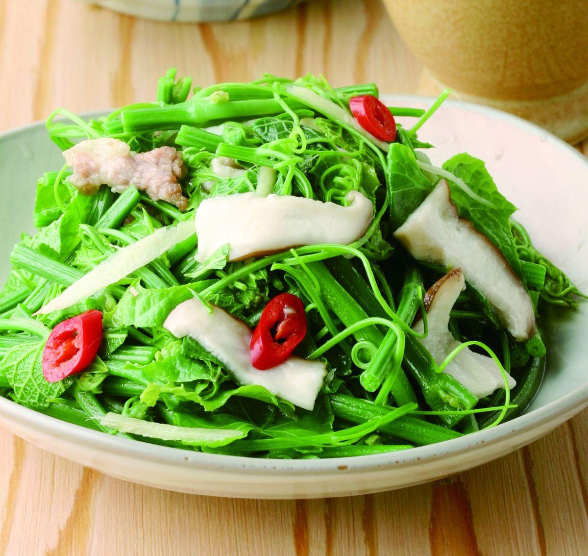 食譜:香菇炒龍鬚菜